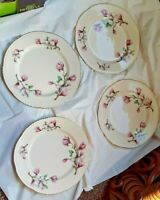 4 Piece Homer Laughlin Apple Blossom Pink Floral Plates Gold Trim 9""