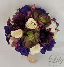 17 Piece Package Silk Flower Wedding Bridal Bouquet PLUM PURPLE SUCCULENT Rustic