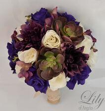 17 Piece Package Silk Flower Wedding Bridal Bouquet PLUM PURPLE SUCCULENT Rustic