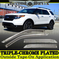 2011-2017 FORD Explorer 4pc Chrome Door Vent Visors Rain Guards Deflectors