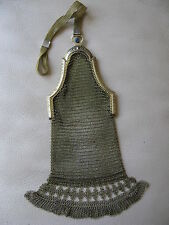 Antique Art Deco Gold T Cathedral Frame Blue Jewel Diamond Fringe Mesh Purse #7