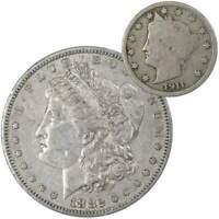 1882 S Morgan Dollar VF Very Fine 90% Silver with 1911 Liberty Nickel G Good