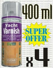 4 x Clear Yacht Varnish Spray Exterior Interior Waterproof All Purpose 400ml