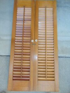 "VTG Interior Louvered Wooden Window Shutters Bi-Fold Colonial Pair 36""Lx18""W #1"