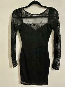 Ladies long sleeve black lace mini bodycon dress Size 6