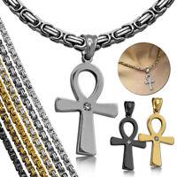 1 Set Köniskette + Anch Kreuz Anhänger Halskette Edelstahl  Ägyptisches Zeichen