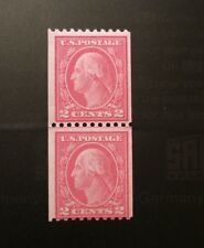 US Genuine Coil Line  Pair: Scott #450 2c  Washington Type III  OG NH $550  VG