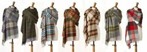 Bronte 100% Merino Lambswool Check Stole 70cm Wide Scarf Shawl Wrap British made