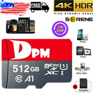 Memory Card 4K Fast Flash TF Card Micro Card 512GB 100MB/S Class10 with Adapter