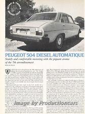 1977 Peugeot 504 Diesel Road Test Original Car Review Print Article J677