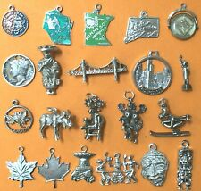 USA, CANADA, VARIOUS COUNTRIES, Vintage sterling silver charms bracelet