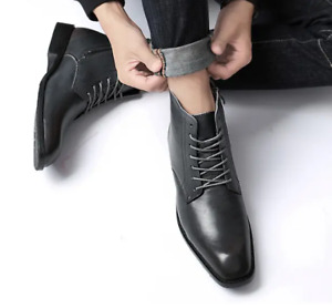 Mens Faux Leather Ankle Boots Lace-up Business Pumps Casual Oxfords Pointed Toe