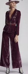 $450 NWT Free People Perfect Illusion Wide Leg Crushed Velvet Pant Suit Plum 8
