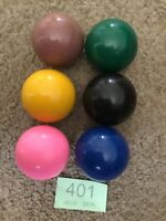 6 SPARE  SNOOKER BALL ~ Yellow,pink,blue & Green Brown Black  c48mm Odd Mark.401