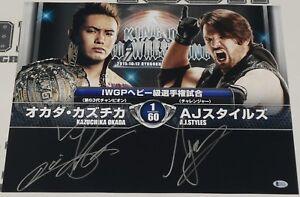 Kazuchika Okada AJ Styles Signed 16x20 Photo BAS COA WWE New Japan Pro Wrestling