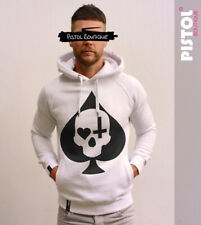 Pistol Boutique White Pullover ACE OF SPADES SKULL CROSS HEART Fashion hoodie