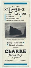Pamphlet w Schedule & Rates for Clark Steamship Co in Gulf of St Lawrence