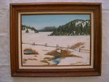 WINTER LANDSCAPE OIL PAINTING PASTURE FENCE TREES & CREEK MARY CLARK 1986