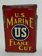 RARE!  U.S. Marine Flake Cut Tobacco Package Tin Litho Vertical Can