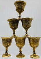 Lot Set Of Six Solid Engraved Brass Patina Sherry Wine Goblets VTG Antique!