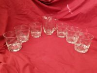 Bohemian Czech Rocks Glasses with Pitcher Cut Glass Floral Martini Collins Set 6