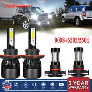 For Jeep Patriot 2010-2017 -4X LED Headlight High/Low Beam + Fog Light Bulbs kit