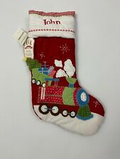 Pottery Barn Kids Christmas Quilted Red Train Stocking Personalized JOHN