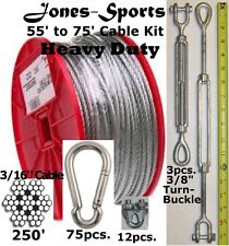 Heavy Duty 70' Indoor/Outdoor Cable Kit for Baseball Softball Batting Cage Net
