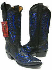 Women's Black Flower Inlay Blue Sequins Leather Cowboy Boots Wear Snip Toe