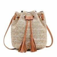 Women Shoulder Crossbody Bags Tassel Rattan Wicker Woven Beach Straw Buckets Bag
