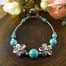 NEW Free shipping Jewelry Tibet silver jade turquoise bead DIY bracelet S273