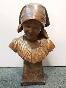 """""""Annita"""" Goldscheider Gilded Terracotta Bust Sculpture by Bortone (1898)"""