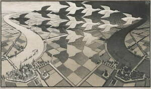 M.C. Escher Day and Night Poster Reproduction Paintings Giclee Canvas Print