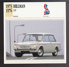 1973-1976 Hillman Imp British Car Photo Spec Sheet Info ATLAS CARD 1974 1975