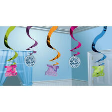 Disco Hanging Swirl Decorations  60cms long Pack of 5