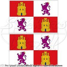 CASTIGLIA e LEON Bandiera SPAGNA Castilla y León, Adesivi 100mm Stickers x2