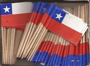 LOT OF 3 BOXES Chile Toothpick Flags, 100 Chilean flag toothpicks per box