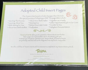 Tessera Baby Memory Book Insert Pack Adopted Adoption Child 12 Pages Documents