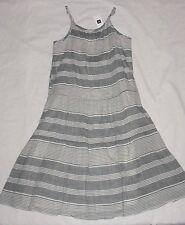 NWT Gap Kids Girls ROOFTOP Gray & White Striped Sun Dress Sz L 10 VHTF