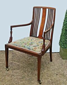 Beautiful Antique Inlaid Ladies Mahogany  Armchair