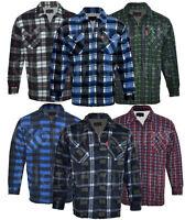 Mens Fur Sherpa  Lined Fleece Shirt Lumberjack Work Jacket Check  Warm