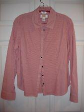 Talbots blouse size M Medium Petite LS EUC button red white stripe