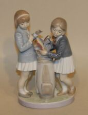 Retired Lladro Porcelain Figurine in Box Tee Time 5675 Two Girls Golf Clubs Bag