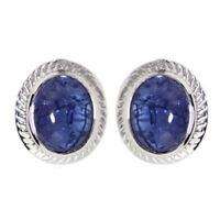 Bezel Set Tanzanite Cabochon 925 Sterling Silver Women/Girl Stud Earring Jewelry