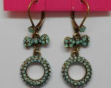 Betsey Johnson Mint Multi Pave Bow & Circle Drop Leverback Earrings