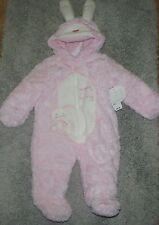 PLUSH PINK  WHITE SOFT SNOW BUNNY SNOW SUIT, SIZE 6 MONTHS BRAND NEW W/HOOD