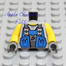 NEW Lego POWER MINER MINIFIG TORSO Gray Shirt Blue Worker Overall Tool Vest Bibs