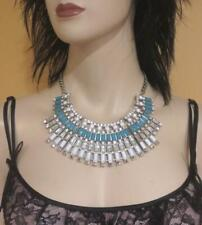 NEW Choker Bib STATEMENT Necklace TURQUOISE BLUE n WHITE CRYSTAL Costume Jewelry
