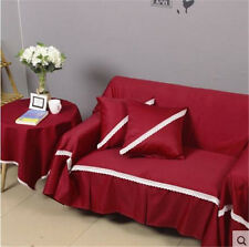 Plain Red Cotton Linen Slipcover Sofa Cover Protector Lukr 1 2 3 4 seater Thick