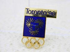 Vintage Ton Doré Émail Bleu Toronto 1996 Olympique Broche